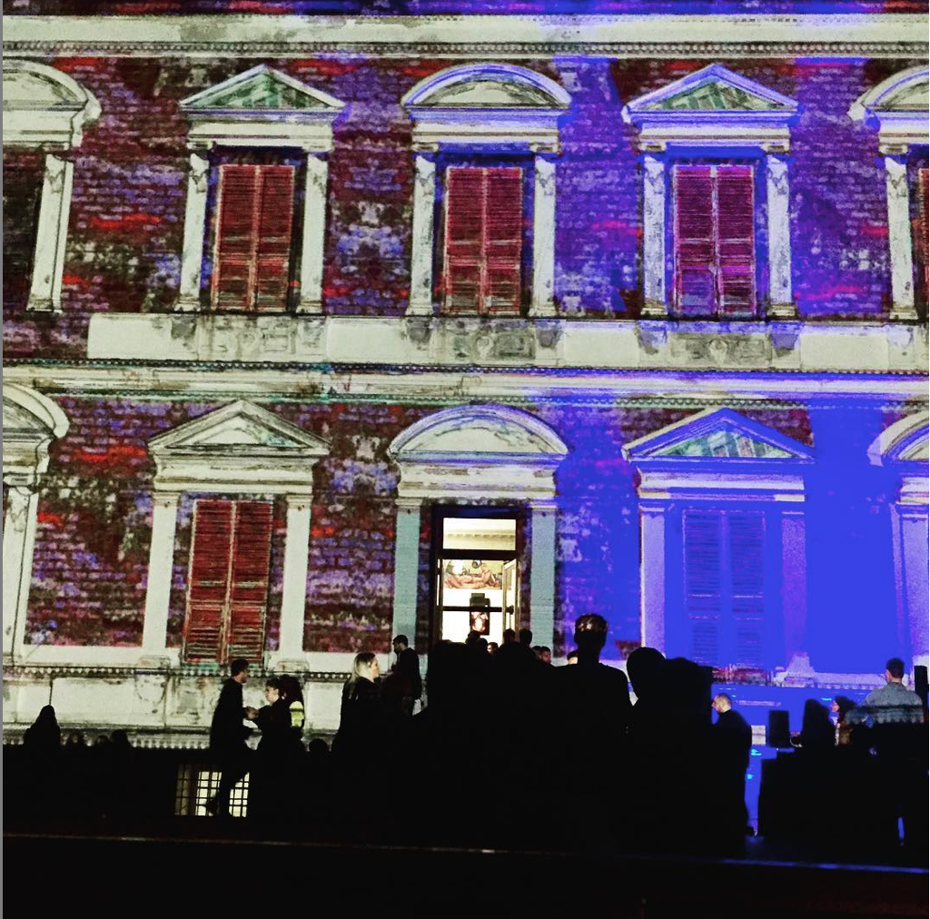 projection mapping in Genoa , Villa Croce
